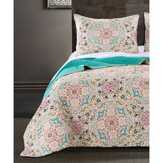 Greenland Home Fashions Morocco Gem Quilt Set (78 CAD) ❤ liked on Polyvore featuring home, bed & bath, bedding, quilts, cotton pillow shams, moroccan bedding sets, greenland home fashions, twin bed sets and twin bedding sets