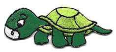 """[Single Count Set] Custom and Unique (2"""" x 3/4"""") Turtle Reptile Iron On Embroidered Applique Patch {Green, White and Black Colors} myLife Brand Products http://www.amazon.com/dp/B0113D20GO/ref=cm_sw_r_pi_dp_QvzPvb0WNYY5E"""