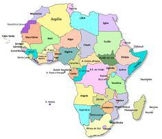 África atual (2012). País mais recente: Sudão do Sul
