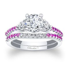 Pink Sapphire Engagement Ring 7539SPSW