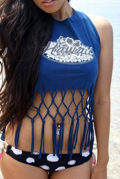 surfer girl hawaii t shirt top lattice fringe hawaiian halter cut blue beach surfer sexy - T Shirt Design Ideas Cutting
