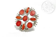 Albertine silver pin pendant with coral  - product images  of SCHJ #silverbrooch #silverjewellery #jewelry #jewellery #brooch  #jewelleryblog #jewelleryboutique #coral