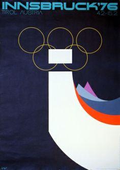 Innsbruck Winter Olympics (Tirol Austria), 1976 - original vintage Winter Olympic Games poster listed on AntikBar.co.uk