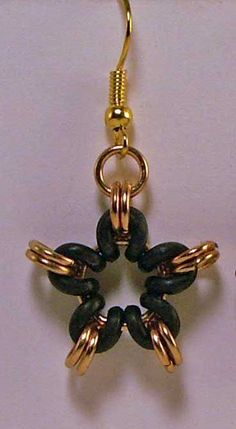 Dangle Earrings With Black EPDM And Gold Plated  Chainmaille Rings