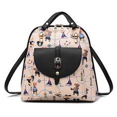 f7b5b2ee84 Women Designer Leather Backpacks For Teenage Girls Cute Cartoon Printing  Backpack Travel Bag Black Stripe Lady