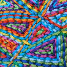 """Spotted in the CRAFT Flickr pool: """"free form hand embroidered colour storm!"""" by Flickr user chimaera2007."""