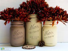 Rustic Earthtones, Fall, Thanksgiving, Hostess Gift, Painted Mason Jars, Vase, Centerpiece on Etsy, $19.00