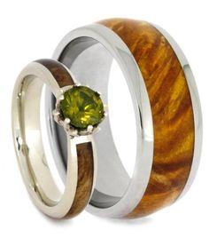 Wood Wedding Ring Set, Peridot Engagement Ring With Wood Wedding Band-3414