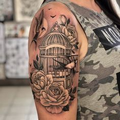 Arm Cover Up Tattoos, Cover Up Tattoos For Women, Foot Tattoos For Women, Sleeve Tattoos For Women, Ankle Foot Tattoo, Freedom Tattoos, Floral Thigh Tattoos, Cage Tattoos, Piercings
