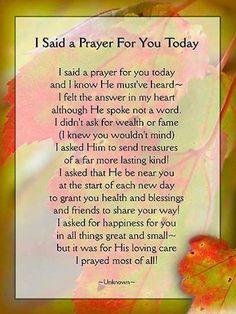 I Said A Prayer For You Today