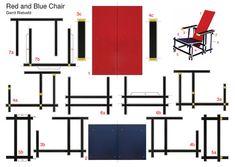 Postkarte Gerrit Rietveldt, Red and Blue Chair Mondrian, Rietveld Chair, Bauhaus Chair, Cool Things To Build, Diy Furniture, Furniture Design, Stool Chair, International Style, Design Tutorials