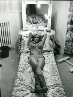 """Raquel Welch in her dressing room while filming """"One Million Years B.C"""", 1966"""