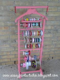 Coat Rack Repurposed as Ribbon Holder - might have to do this one! :)