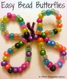 A simple and fun pony bead butterfly craft parents can do with their toddler or preschooler. great for hand-eye coordination and fine motor skills!