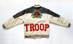 Vintage 80s TROOP World of Troop Leather Bomber Jacket  https://www.etsy.com/listing/468067124   #Vintage #80s #90s #TROOP #WorldOfTroop #Leather #Bomber #Patchwork #Badges #Jacket #HipHop #Rap #RapTees #Collectors #LLCoolJ #OG #Rare #Mens #XL