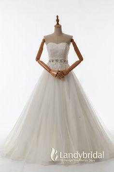 ウェディングドレス ハートネック Aライン チュール ベルト ld3719