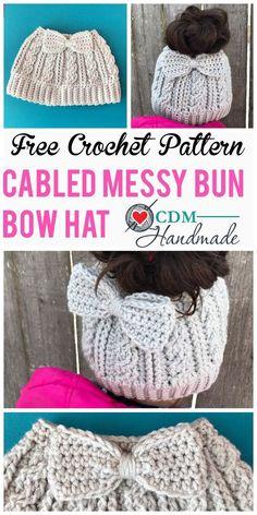 Crochet scarves 88594317657277987 - Cabled Messy Bun Bow Hat – a FREE Crochet Pattern – CDM Handmade Source by mommykab Crochet Hat With Brim, Easy Crochet Hat, Bonnet Crochet, Crochet Simple, Crochet Scarves, Crochet Clothes, Knit Crochet, Crochet Bun Hats, Crochet Braids