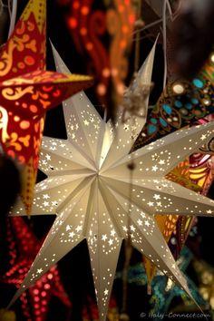 Christmas Market: Basel, Switerland. Illuminated Stars.