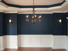 molding for the dining room wall | Formal Dining Room, Recessed Ceiling, Custom Molding, Chandelier, Wall ... #Formaldiningrooms