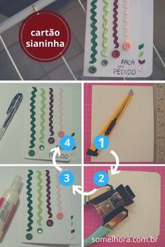Experimenta fazer um cartão com sianinhas e botões! Simples e delicado, pode ser adaptado para diversos momentos. Aqui tem um passo a passo bem detalhado! Como fazer um cartão de scrap | DIY de cartão de Scrapbooking | Passo a passo de Cartão artesanal Diy, Blog, Small Gifts, Kid Craft Gifts, Bricolage, Do It Yourself, Blogging, Homemade, Diys