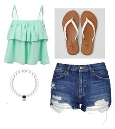 """""""Beach/summer outfit"""" by kendallperry on Polyvore featuring LE3NO, Topshop and American Eagle Outfitters"""