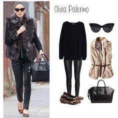 2. Olivia Palermo #getthelook Superposición de capas y variedad de texturas son las claves de este outfit de #OlivaPalermo ¡nos encanta! #streetstyle #ootd #outfit #tagsforlike