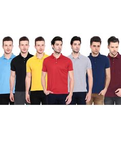 Buy Ansh Fashion Wear Combo of 7 Multicolor Polo T-Shirt