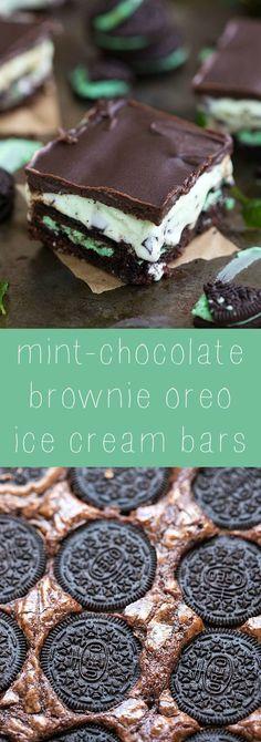 Super simple 5-ingredient mint-chocolate brownie oreo ice cream bars