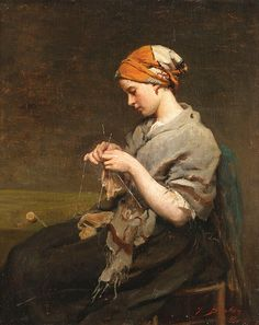 Jules Adolphe Breton -   Jeune fille tricotant, 1860. French 1827-1906