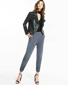 mid rise ruched ankle pleated soft pant