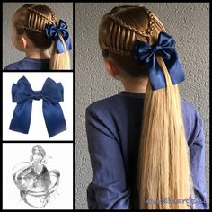 Haarstrik satijn glans in de kleur blauw Feathered braids into a ponytail with a gorgeous big bow fr Princess Hairstyles, Little Girl Hairstyles, Pretty Hairstyles, Braided Hairstyles, Hairstyle Braid, Girl Hair Dos, Toddler Hair, Hair Today, Kind Mode