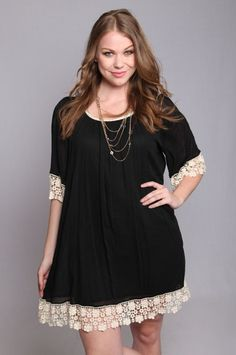 Lace Embellished Tunic Dress --Plus size dress Curvy Girl Outfits, Curvy Girl Fashion, Plus Size Fashion, Womens Fashion, Fashion Goth, Petite Fashion, Steampunk Fashion, Dress Fashion, Fall Fashion