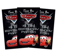 10 CARS Birthday Party Favors THANK YOU TAGS