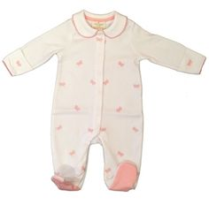 Kate Spade Pink Bows Baby Girls Velour Footie