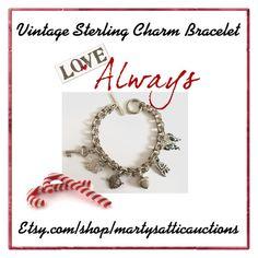 """Vintage Sterling Charm Bracelet"" by martysattic on Polyvore featuring vintage"