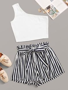 Shein One Shoulder Crop Top With Striped Paperbag Waist Belted Shorts shorts shorts shorts shorts outfits shorts Girls Fashion Clothes, Swag Outfits, Summer Fashion Outfits, Mode Outfits, Tumblr Outfits, Clothes For Tweens, Converse Outfits, Cute Lazy Outfits, Crop Top Outfits