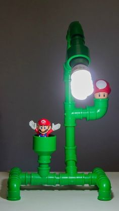 Mario Theme Pipe Lamp rustic decor retro and craft Pipe Diy Furniture Building, Pipe Furniture, Furniture Ideas, Rustic Lamps, Rustic Decor, Rustic Theme, Mario Room, Pvc Projects, Game Room Design