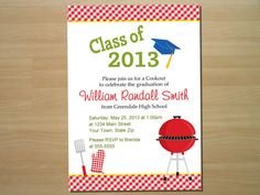 Cookout Graduation Party Invitation Digital By Squigglesdesigns