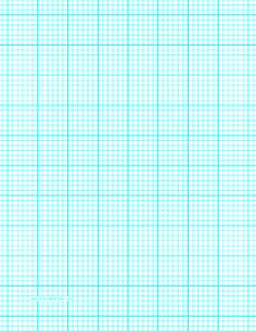 This letter-sized graph paper has six aqua blue lines every inch plus heavy index lines every inch. Free to download and print