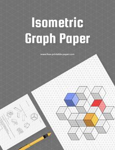 With this printable isometric graph paper template you can sketch beautiful 3D objects for school or work. #isometric #graph #paper #printable #school Printable Graph Paper, Free Printables, Templates, Stencils, Free Printable, Vorlage, Models