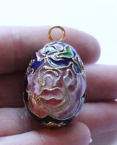 Vintage Enamel Faberge Egg Style Pendant by paststore on Etsy