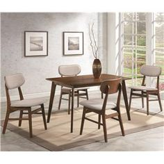 Kersey+5+Piece+Dining+Set+with+Upholstered+Side+Chairs