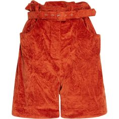 Isa Arfen Crushed Velvet Paper Bag Shorts ($580) ❤ liked on Polyvore featuring shorts, red, stretch shorts, high waisted stretch shorts, high-waisted shorts, high waisted pleated shorts and paper bag waist shorts