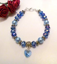Handcrafted Blue Crystal Beads and Glass Pearl Bracelet w Crystal Heart Charm