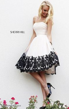 Sherri Hill 11092 Tea Length Lace Dress