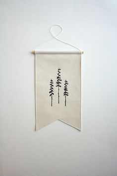 Three Trees Banner Small Wall Banner by smallbranches on Etsy