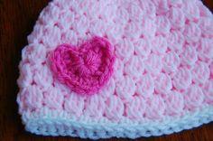 Crochet Newborn Hat Pattern Free Girls Crochet Hat Pattern With Heart Crochet Newborn Hat Pattern Make It Handmade The Bubble Gum Newborn Hat Free Pattern. Crochet Newborn Hat Pattern Make It Handmade The Bubble Gum Newb. Crochet Baby Hat Patterns, Baby Girl Crochet, Newborn Crochet, Crochet Baby Hats, Free Crochet, Knit Crochet, Baby Patterns, Crochet Toddler, Chunky Crochet