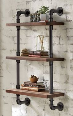 30 DIY Rustic Industrial Pipe Shelving and farmhouse decor!This DIY shelf is emp. 30 DIY Rustic Industrial Pipe Shelving and farmhouse decor!This DIY shelf is employed in a little pantry. Industrial and. Industrial Pipe Shelves, Industrial Home Design, Industrial House, Industrial Interiors, Diy Pipe Shelves, Rustic Shelves, Shelves With Pipes, Rustic Industrial Decor, Industrial Style