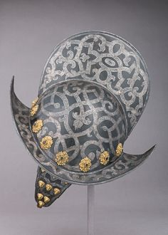 Silvered morions of this type probably were worn by the officers of the bodyguards of the prince-electors of Saxony 16 century
