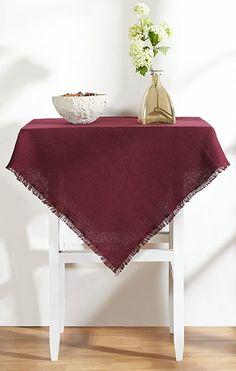 Burlap Merlot Table Cloth 60x80   Table Cloth Measures 60x80